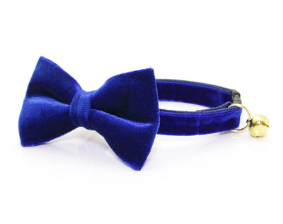 "Bow Tie Cat Collar Set - ""Sapphire Blue"" - Velvet Cat Collar + Blue Velvet Bow Tie (Removable) / Breakaway Collar or Non-Breakaway"