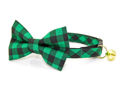 "Cat Collar - ""Cozy Cabin Green"" - Buffalo Plaid Collar - Breakaway Buckle or Non-Breakaway - Cat + Small Dog Sizes"