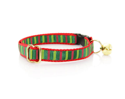 "Christmas Cat Collar - ""Deck the Halls"" - Red & Green Striped Collar - Breakaway Buckle or Non-Breakaway - Cat + Small Dog Sizes"