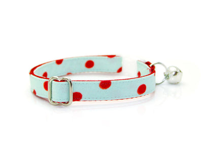 "Mint Cat Collar + Flower Set - ""Crazy For You"" - Mint Polka Dot Collar with ""Red"" Felt Flower (Detachable) / Breakaway or Non-Breakaway"