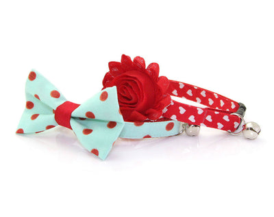 "Mint Bow Tie Cat Collar Set - ""Crazy For You"" - Polka Dot Cat Collar + Bow Tie (Removable) / Valentine / Breakaway Collar or Non-Breakaway"