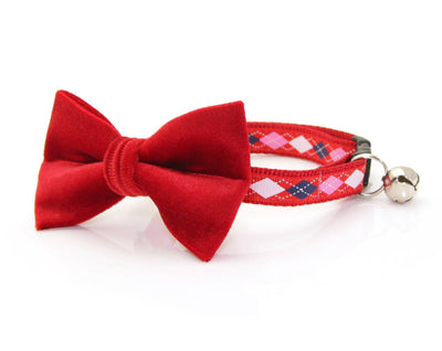 "Valentine Bow Tie Cat Collar Set - ""Love Me Tender"" - Argyle Cat Collar + ""Garnet Red Velvet Bow Tie"" (Removable) / Breakaway Collar or Non-Breakaway"