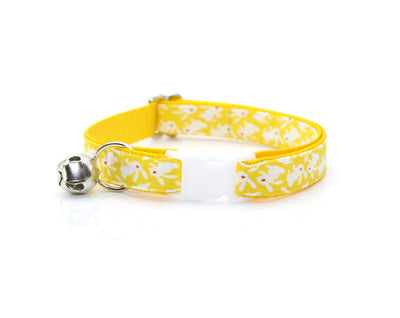 "Cat Collar & Flower Set - ""Hoppy Hour / Yellow"" - Easter Bunny Cat Collar + ""Buttercup"" Flower (Detachable)"