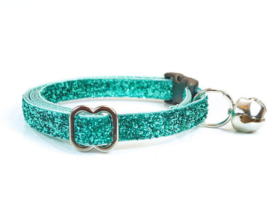 "Cat Collar & Flower Set - ""Enchanted"" - Mint / Turquoise Sparkle Cat Collar + ""Mint"" Flower (Detachable)"