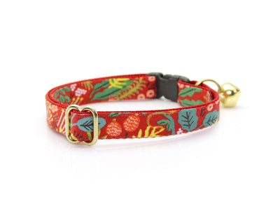 "Cat Collar & Flower Set - ""Jungle Red"" - Rifle Paper Co® Tropical Cat Collar + ""Scarlet Red"" Flower (Detachable)"