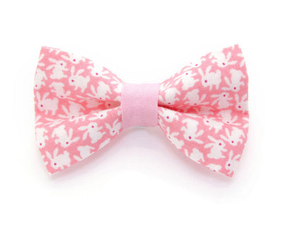 "Bow Tie Cat Collar Set - ""Hoppy Hour / Pink"" - Easter Bunny Pastel Pink Cat Collar + Matching Bow Tie (Removable)"