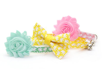 "Bow Tie Cat Collar Set - ""Hoppy Hour / Green"" - Easter Bunny Pastel Green Cat Collar + Matching Bow Tie (Removable)"