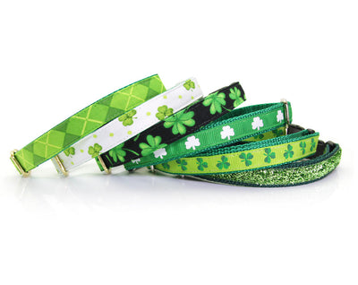 "Bow Tie Cat Collar Set - ""Shamrock Cove"" - St. Patrick's Day / Cat Collar + Matching Bow Tie (Removable)"
