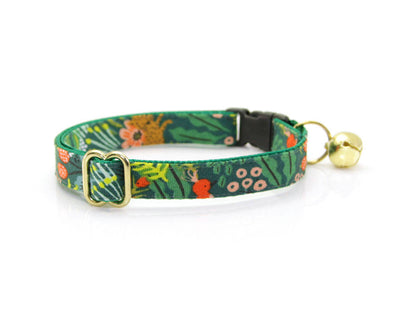 "Bow Tie Cat Collar Set - ""Jungle Green"" – Rifle Paper Co® Tropical Cat Collar + Matching Bow Tie (Removable)"