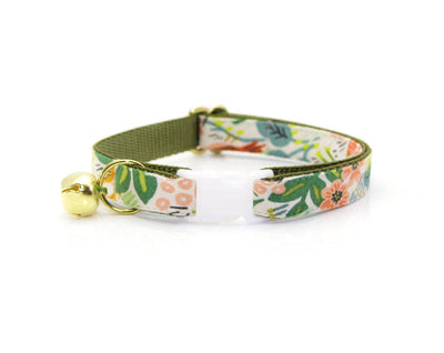 "BACKORDERED - Bow Tie Cat Collar Set - ""Jungle Ivory"" - Rifle Paper Co® Tropical Cat Collar + Bow Tie (Removable)"