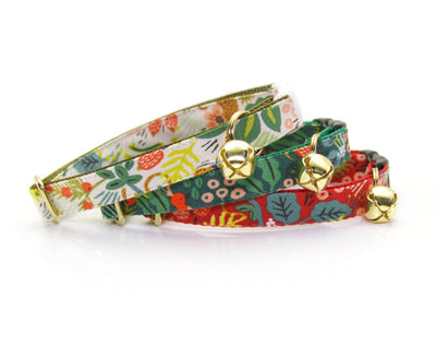 "Cat Collar - ""Jungle Red"" - Rifle Paper Co® Red Tropical - Breakaway Buckle or Non-Breakaway / Cat, Kitten + Small Dog Sizes"