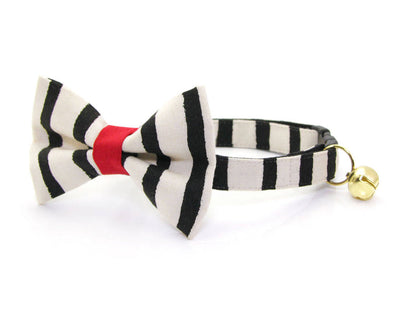 "Cat Bow Tie - ""Cheshire"" - Rifle Paper Co® Black & Ivory Stripe Bow Tie for Cat, Kitten or Small Dog - Removable / One Size"