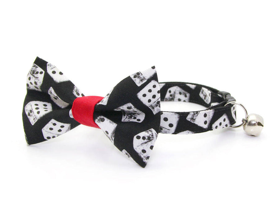 "Cat Bow Tie - ""High Roller"" - Dice Bow Tie for Cat, Kitten or Small Dog - Removable / One Size"