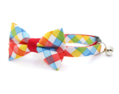 "Cat Bow Tie - ""Pacific"" - Red Multicolored Plaid Bow Tie for Cat, Kitten or Small Dog - Removable / One Size"