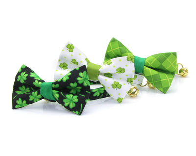 "Cat Bow Tie - ""Shamrock Cove"" - St. Patrick's Day / Green & Black Shamrock Bow Tie for Cat, Kitten or Small Dog - Removable / One Size"