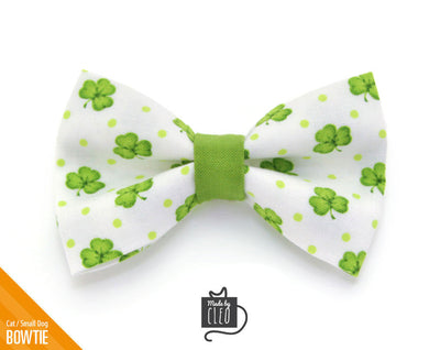 "Cat Bow Tie - ""Clover Hill"" - St. Patrick's Day / Green & White Shamrock Bow Tie for Cat, Kitten or Small Dog - Removable / One Size"