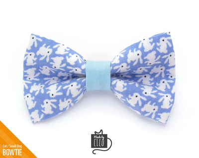 "Easter Cat Bow Tie - ""Hoppy Hour / Blue"" - Bunny Bow Tie for Cat, Kitten or Small Dog - Removable / One Size"
