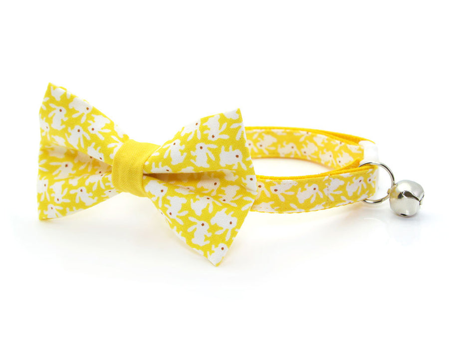 "Easter Cat Bow Tie - ""Hoppy Hour / Yellow"" - Bunny Bow Tie for Cat, Kitten or Small Dog - Removable / One Size"