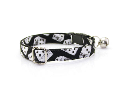 "Cat Collar - ""High Roller"" - Black & White Dice / Vegas – Breakaway Buckle or Non-Breakaway / Cat, Kitten + Small Dog Sizes"