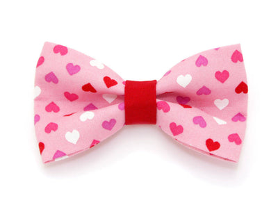 "Valentine Bow Tie Cat Collar Set - ""Candy Hearts - Pink"" - Pink Cat Collar + Bow Tie (Removable) / Valentine's Day / Breakaway  or Non-Breakaway"