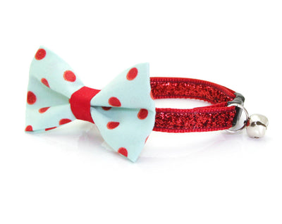 "Pet Bow Tie - ""Crazy For You"" - Mint & Red Polka Dot Bow Tie - Detachable Bowtie for Cats, Kittens + Small Dogs"