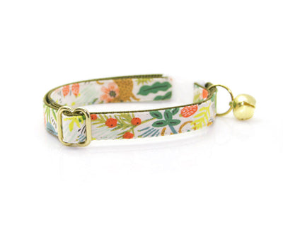 "Cat Collar & Flower Set - ""Jungle Ivory"" - Rifle Paper Co® Tropical Cat Collar + ""Coral Pink"" Flower (Detachable)"