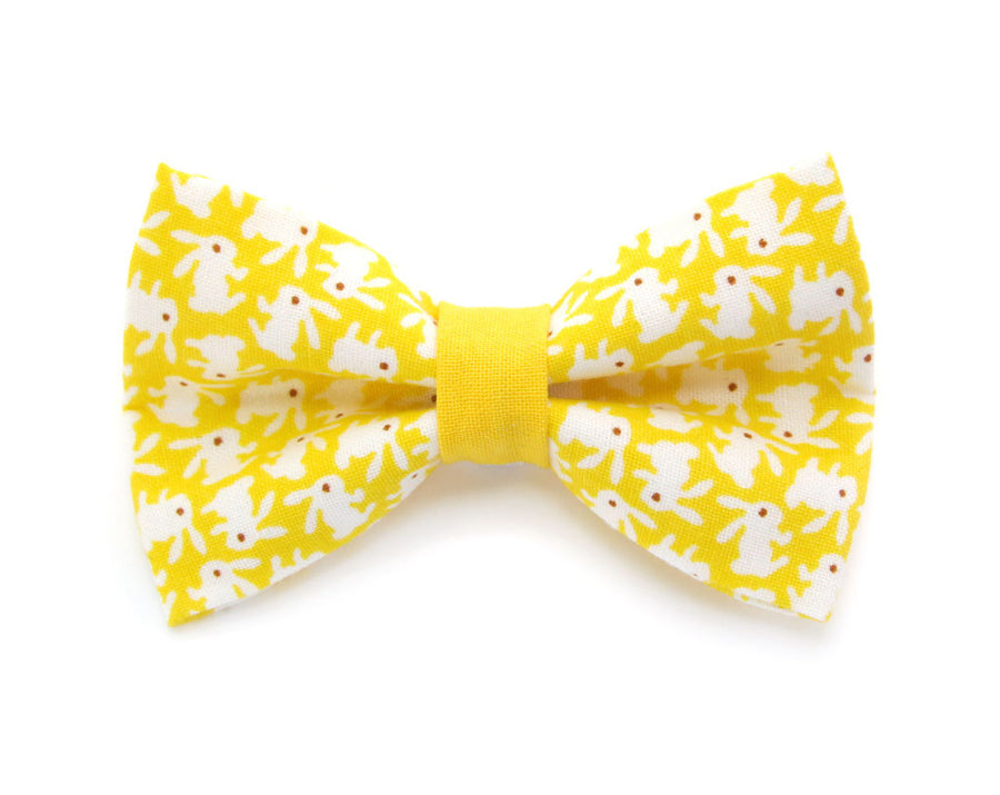 "Bow Tie Cat Collar Set - ""Hoppy Hour / Yellow"" - Easter Bunny Yellow Cat Collar + Matching Bow Tie (Removable)"