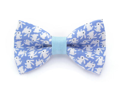 "Bow Tie Cat Collar Set - ""Hoppy Hour / Blue"" - Easter Bunny Blue Cat Collar + Matching Bow Tie (Removable)"