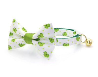 "Bow Tie Cat Collar Set - ""Clover Hill"" - St. Patrick's Day / Green & White Shamrock Cat Collar + Matching Bow Tie (Removable)"