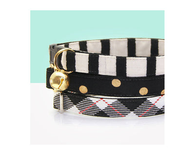 "Bow Tie Cat Collar Set - ""Cheshire"" - Rifle Paper Co® Striped Black Cat Collar + Matching Bow Tie (Removable)"
