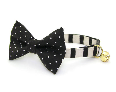 "Bow Tie Cat Collar Set - ""Cheshire"" - Rifle Paper Co® Striped Black Cat Collar + ""Gatsby"" Bow Tie (Removable)"