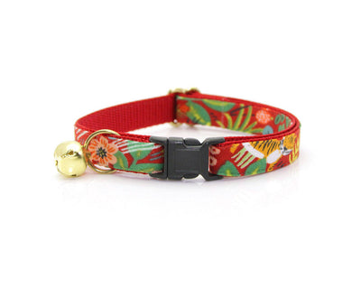 "Bow Tie Cat Collar Set - ""Jungle Red"" – Rifle Paper Co® Tropical Cat Collar + Matching Bow Tie (Removable)"
