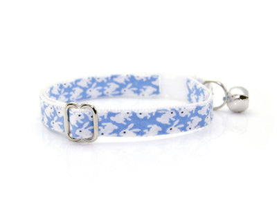 "Easter Cat Collar - ""Hoppy Hour / Blue"" - Mini Bunnies on Light Blue - Breakaway Buckle or Non-Breakaway / Cat, Kitten + Small Dog Sizes"