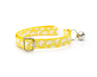 "Easter Cat Collar - ""Hoppy Hour / Yellow"" - Mini Bunnies on Yellow - Breakaway Buckle or Non-Breakaway / Cat, Kitten + Small Dog Sizes"