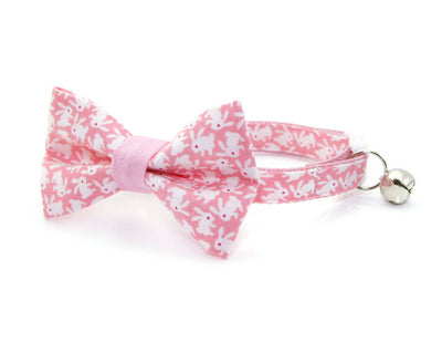 "Easter Cat Collar - ""Hoppy Hour / Pink"" - Mini Bunnies on Pink - Breakaway Buckle or Non-Breakaway / Cat, Kitten + Small Dog Sizes"