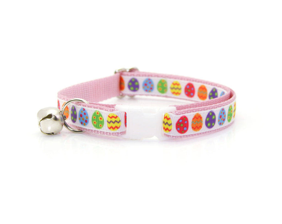 "Easter Cat Collar - ""Easter Egg / Pink"" - Breakaway Buckle or Non-Breakaway / Cat, Kitten + Small Dog Sizes"