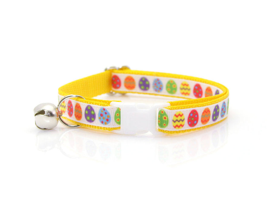 "Easter Cat Collar - ""Easter Egg Yellow"" - Breakaway Buckle or Non-Breakaway / Cat, Kitten + Small Dog Sizes"