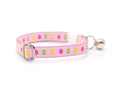 "Easter Cat Collar - ""Bunny Hop"" - Easter Eggs on Pink / Breakaway Buckle or Non-Breakaway / Cat, Kitten + Small Dog Sizes"