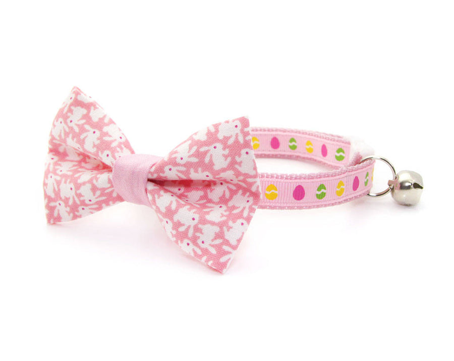 "Easter Cat Bow Tie - ""Hoppy Hour / Pink"" - Bunny Bow Tie for Cat, Kitten or Small Dog - Removable / One Size"