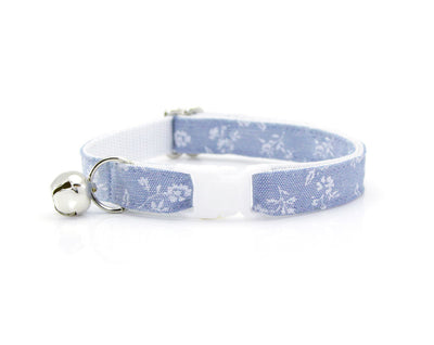 "Cat Collar + Flower Set - ""Fairfield"" - Light Blue Chambray Floral Cat Collar w/  ""Sky Blue"" Flower (Detachable) / Wedding / Cat & Small Dog"