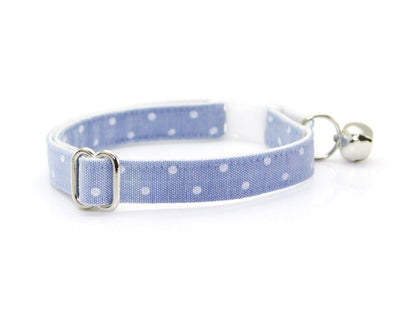 "Cat Collar + Flower Set - ""Merritt"" - Light Blue Chambray Dot Cat Collar w/  ""Sky Blue"" Flower (Detachable) / Wedding / Cat & Small Dog"