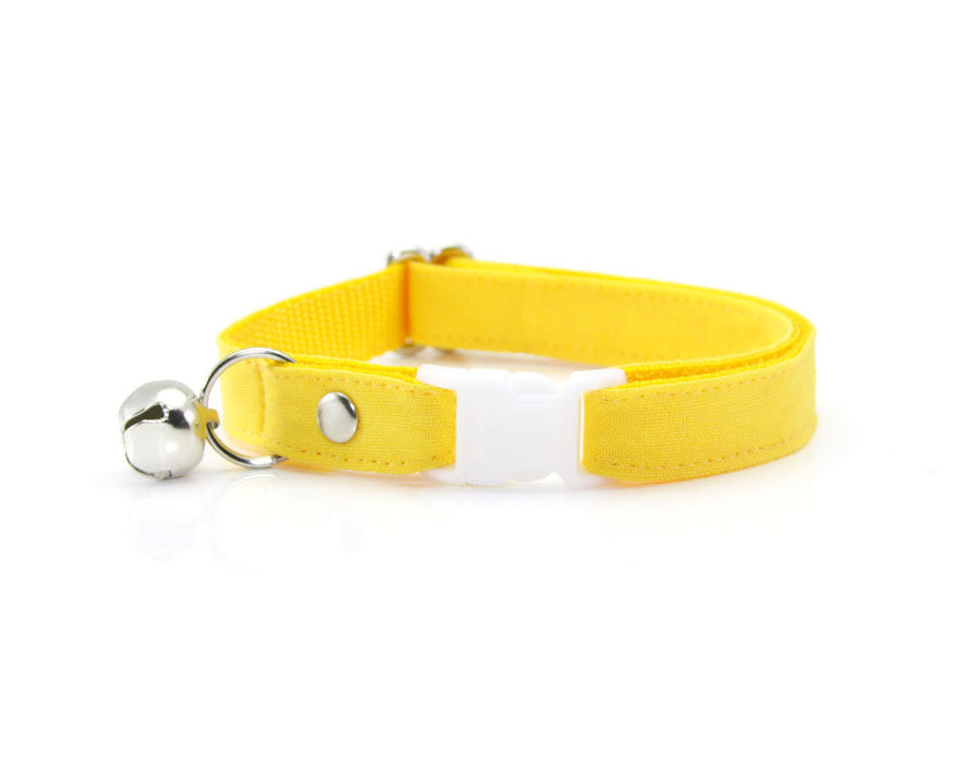 "Cat Collar + Flower Set - ""Color Collection - Yellow"" - Cat Collar w/ ""Buttercup"" Flower (Detachable) / Cat, Kitten & Small Dog"