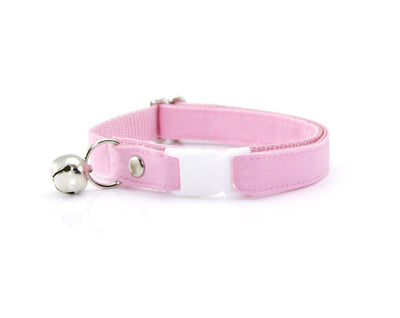 "Cat Collar + Flower Set - ""Color Collection - Pastel Pink"" - Cat Collar w/ ""Baby Pink"" Flower (Detachable) / Cat & Small Dog"