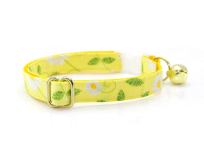 "Bow Tie Cat Collar Set - ""Daisy"" - Lemon Yellow Floral Cat Collar + Matching Bow Tie (Removable)"