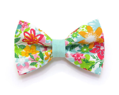 "Bow Tie Cat Collar Set - ""Celeste"" - Marigold + Mint Floral Cat Collar + Matching Bow Tie (Removable)"