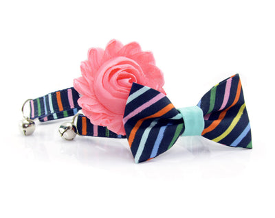 "Rifle Paper® Bow Tie Cat Collar Set - ""Cape Cod"" - Navy Rainbow Stripe Cat Collar + Matching Bow Tie (Removable)"