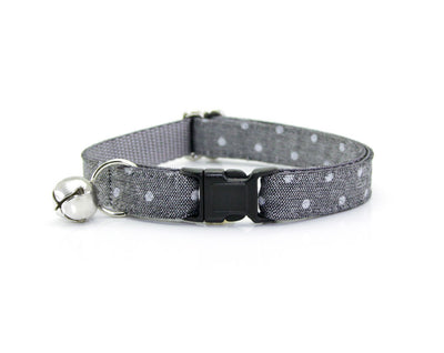 "Bow Tie Cat Collar Set - ""Park Avenue"" - Gray Chambray Dot Cat Collar + Matching Bow Tie (Removable)"
