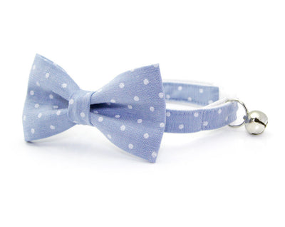 "Bow Tie Cat Collar Set - ""Merritt"" - Light Blue Chambray Dot Cat Collar + Matching Bow Tie (Removable)"