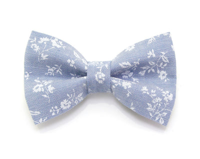 "Bow Tie Cat Collar Set - ""Fairfield"" - Light Blue Chambray Floral Cat Collar + Matching Bow Tie (Removable)"