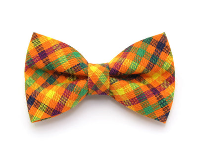 "Bow Tie Cat Collar Set - ""Tahoe"" - Orange Sunset / Fall Plaid Cat Collar + Matching Bow Tie (Removable)"